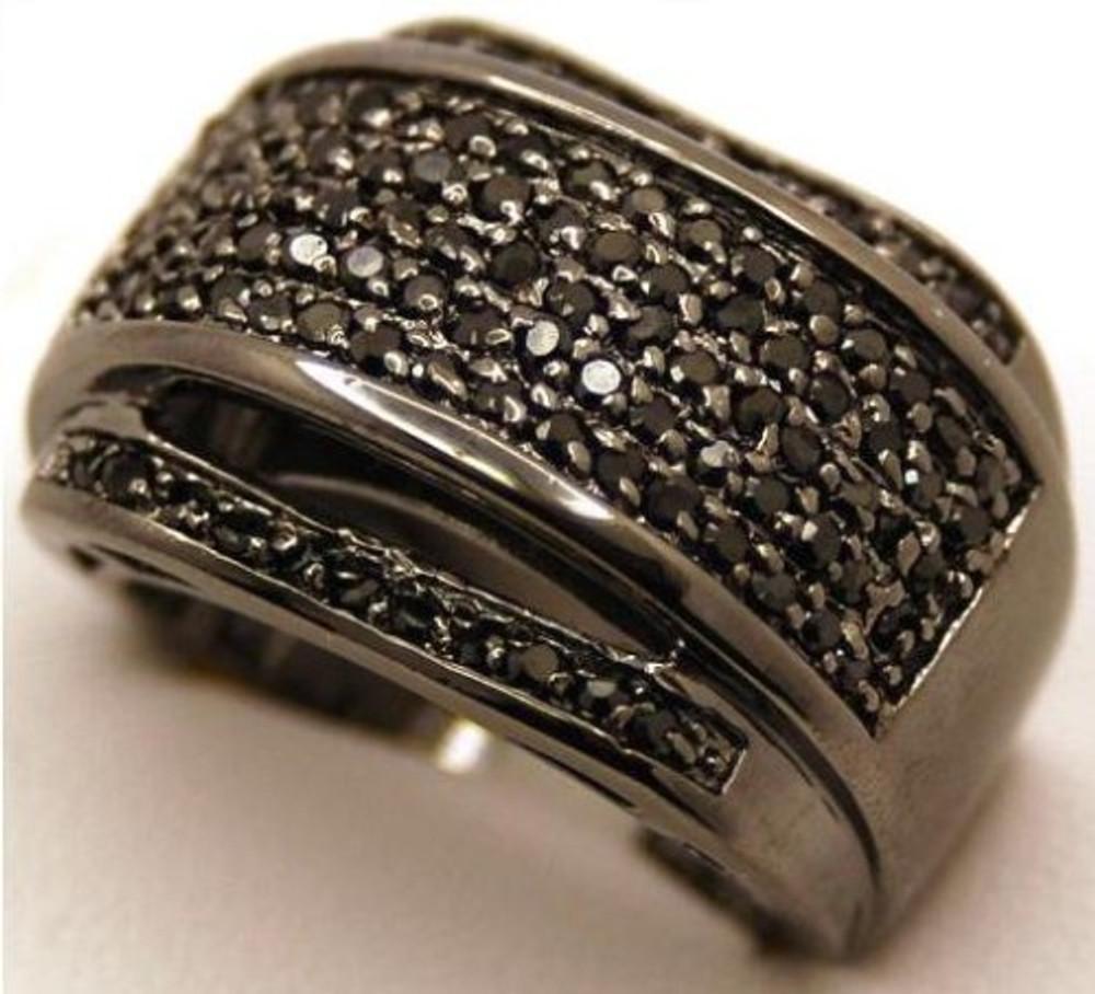 Mens Black on Black Clean Cut Cz Diamond Stone Ring