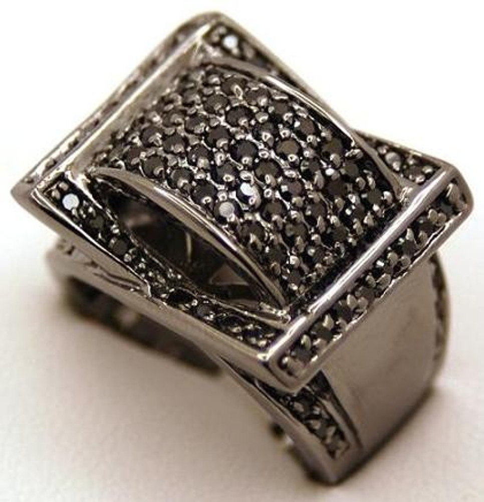 Black on Black Ribbon Cut Bling Diamond Cz Iced Out Ring