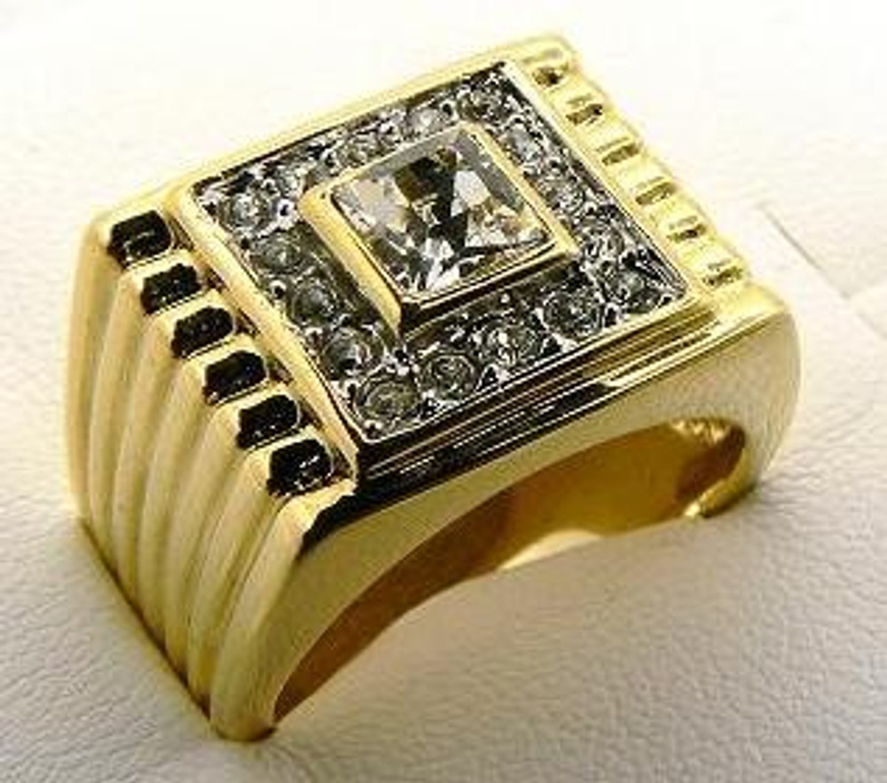 Big Square Center Stone Iced Out Diamond Cz Ring Gold