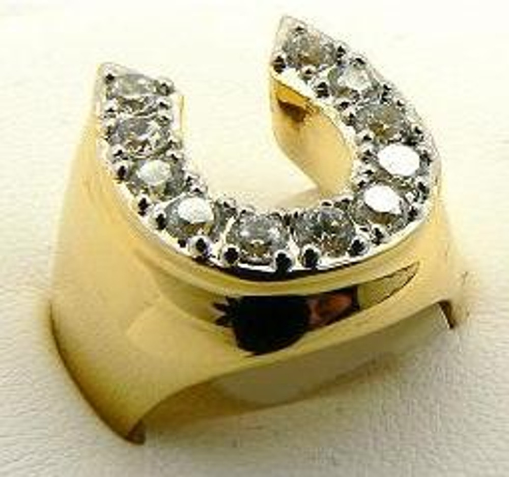 Gold Horseshoe Simulated Diamond Iced Out Ring
