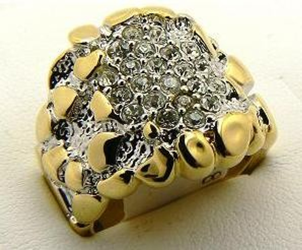 Mens Gold Simulated Diamond All Star Nugget Stone Ring