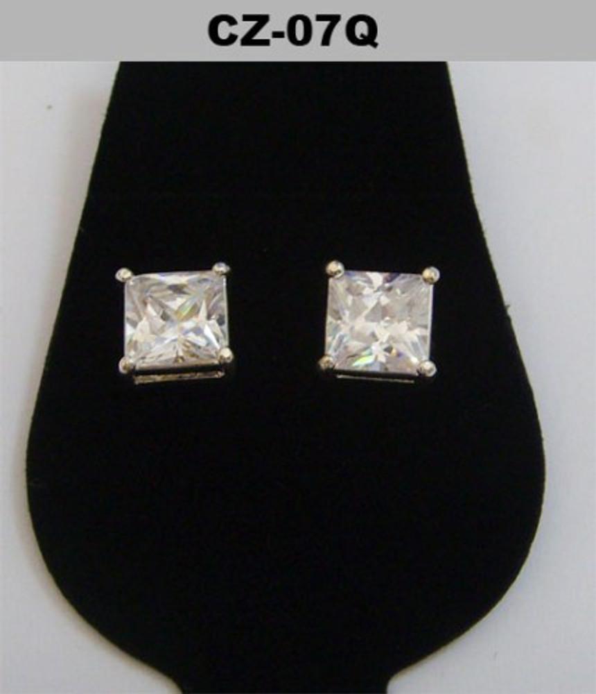 Silver 7mm Princess Cut Diamond Cz Iced Out Earrings