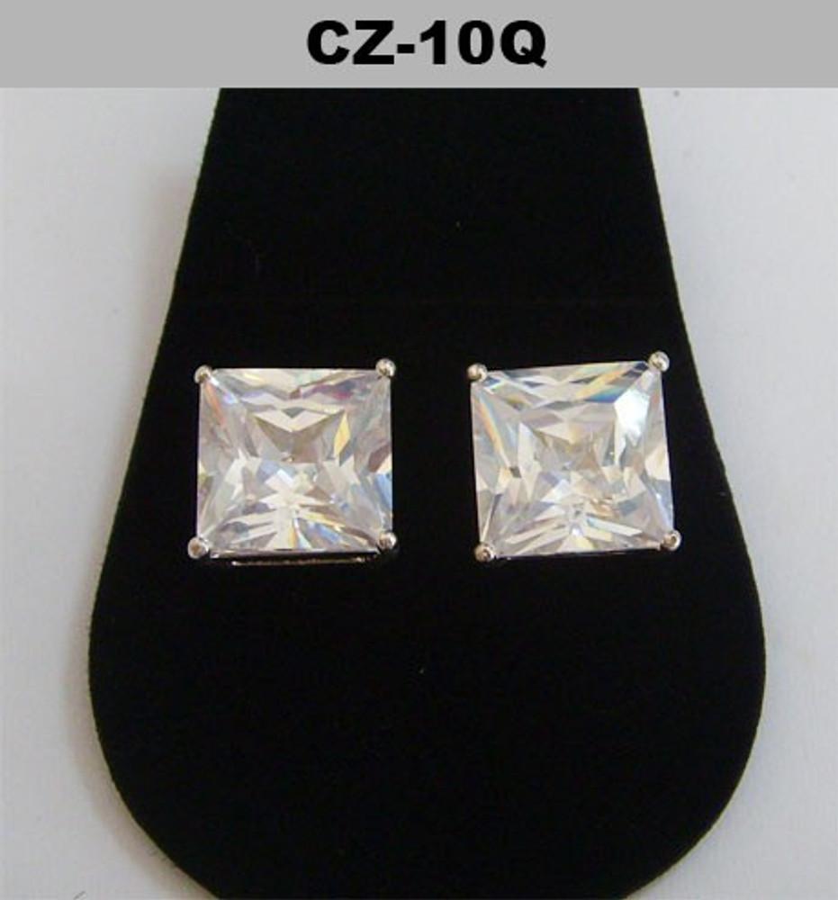 Silver 10mm Princess Cut Iced Out Diamond Cz Earrings