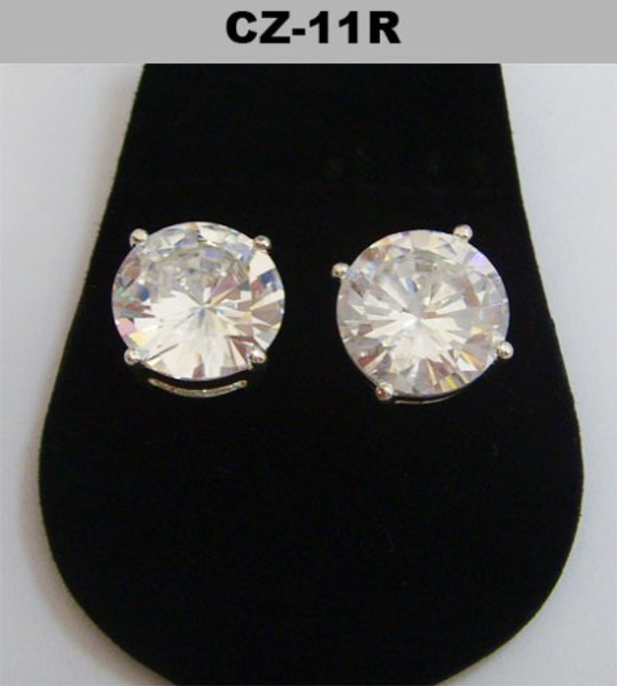 11mm Round Cut Iced Out Diamond Cz Earrings