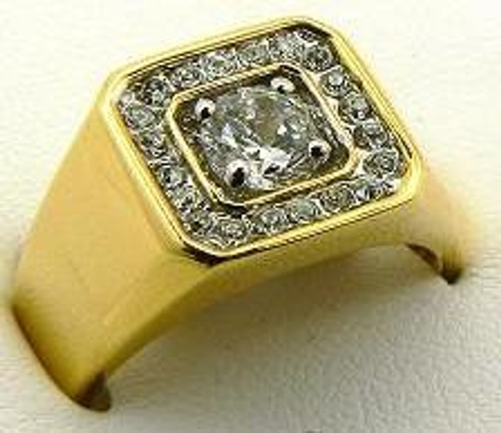 Deep Set Center Stone Gold Diamond Cz Iced Out Ring