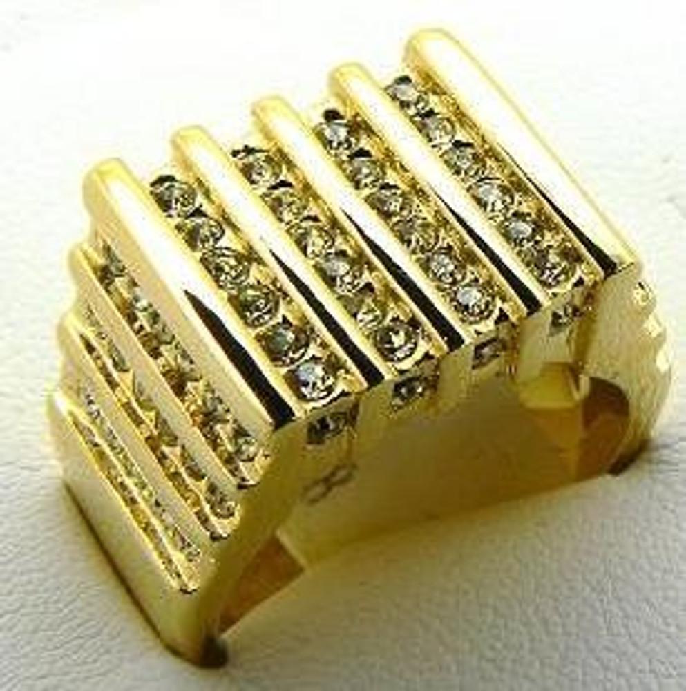 Mens Diamond CZ Bars of Ice Hip Hop Bling Ring Gold