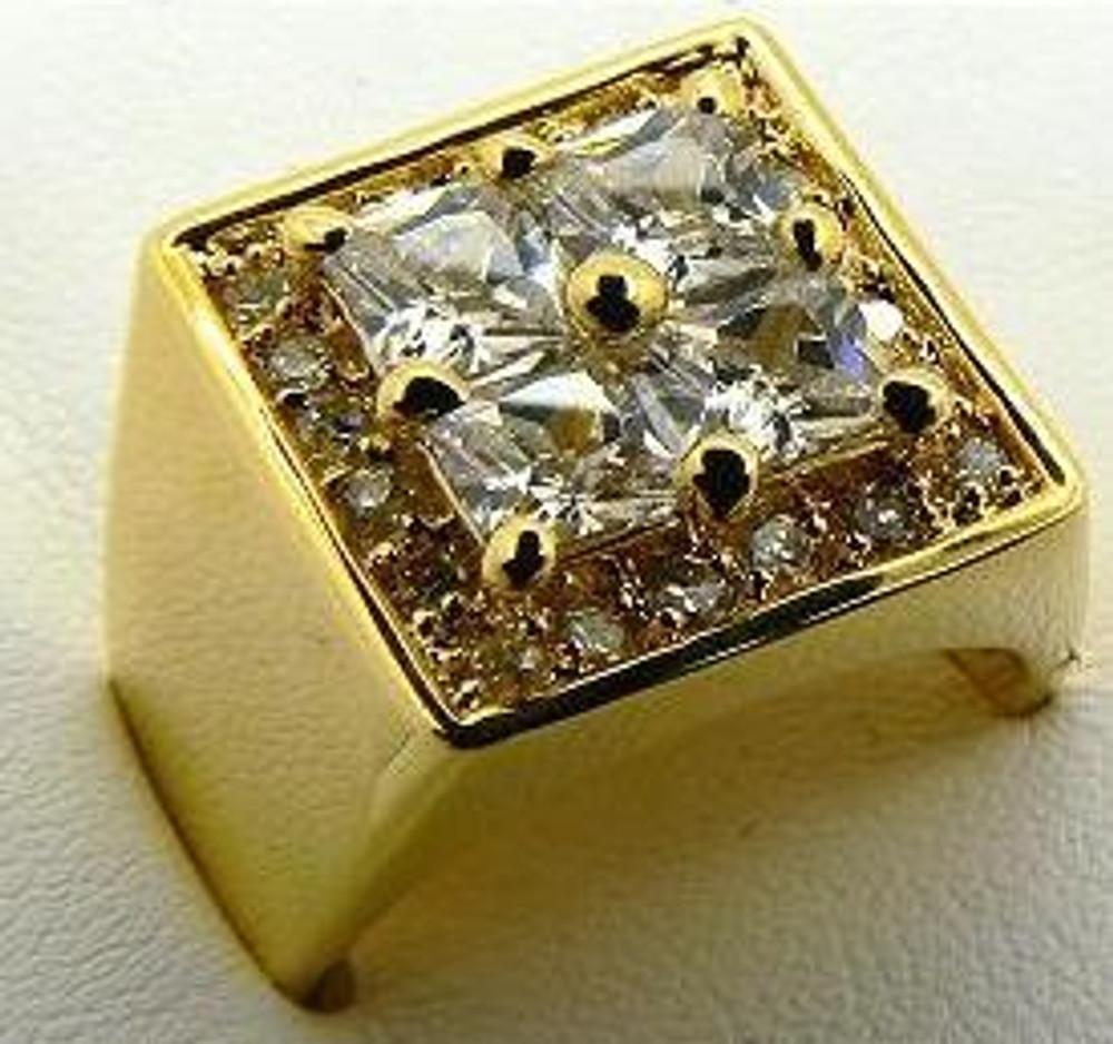Mens 4 Prong Princess Cut 14k Gold gp Iced Out Bling Ring