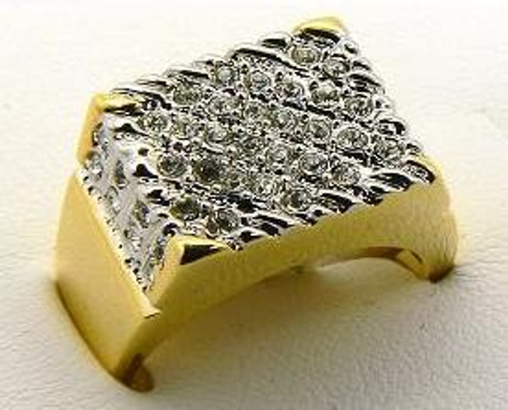 Mens Iced Out 14k Gold Diamond Cz Nugget Ring