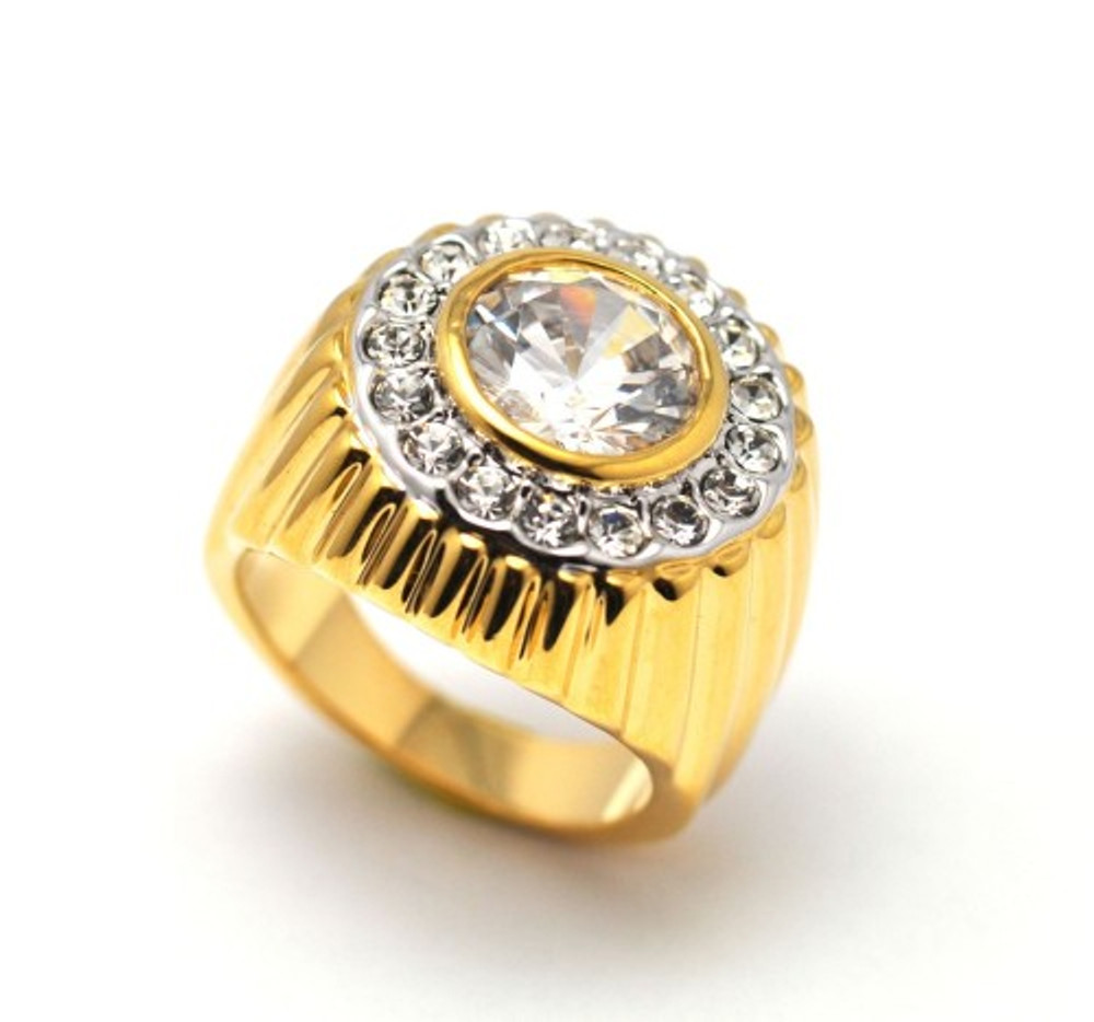 Men's Gold Bling Big Diamond Cz Center Stone Iced Out Ring