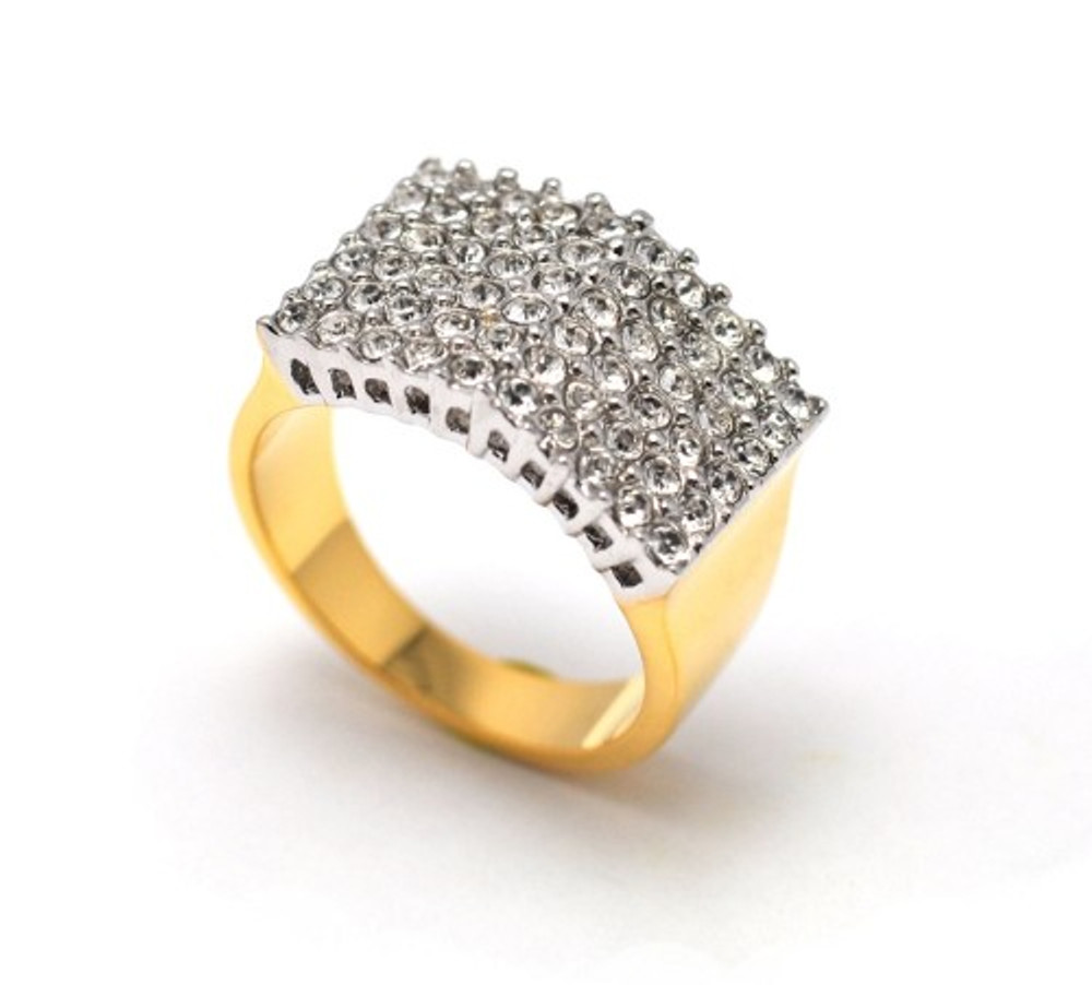 Mens Gold Bling Angle Arch Diamond Cz Iced Out Ring