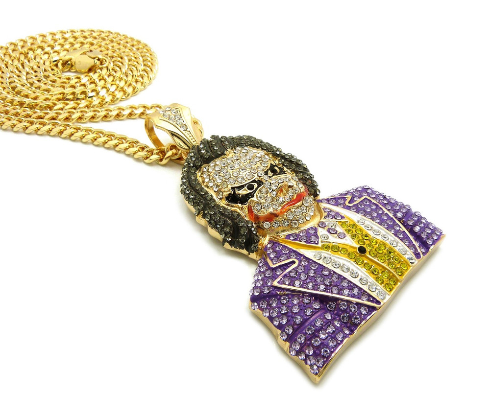 14k Gold Iced Out Micro-Pave Stone The Joker Gold Pendant