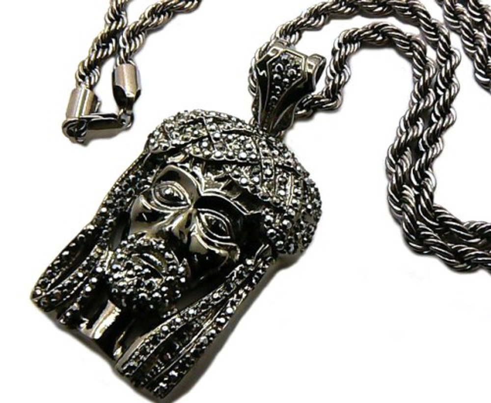 """Black Hematite JESUS Piece Iced Out Pendant 36"""" Rope Chain Necklace"""