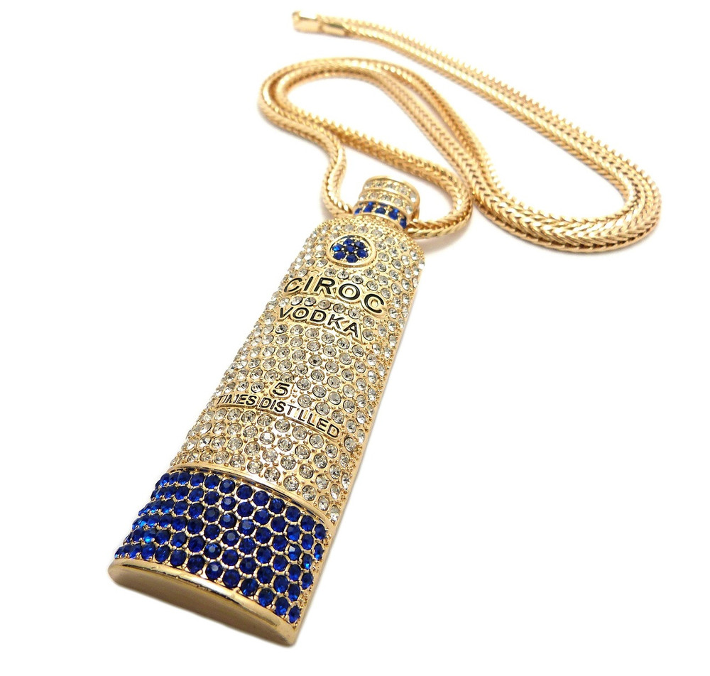 """Iced Out Ciroc Vodka Inspired Pendant 36"""" Chain Necklace Gold"""