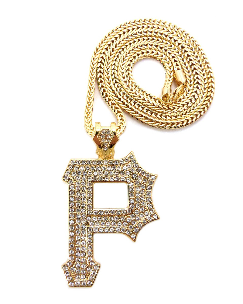 Wiz khalifa hip hop gold cz pittsburgh p iced out chain pendant mozeypictures Gallery