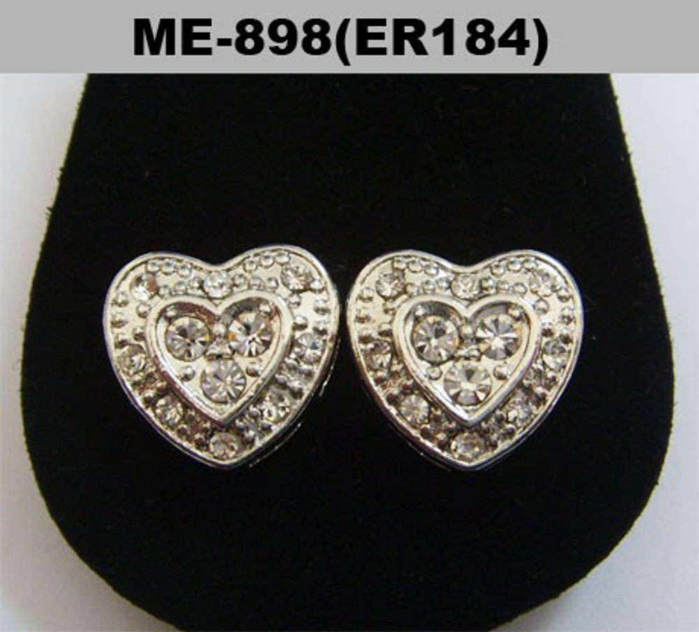 Diamond Cz Rhodium Silver Heart Shaped Iced Out Earrings