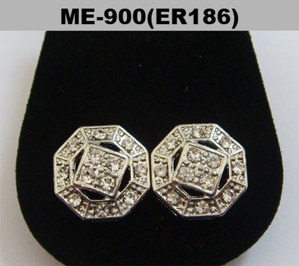 Diamond Cz Octagon Shaped Hip Hop Bling Earrings