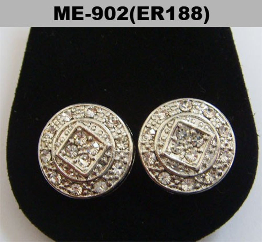 Circular Squared Center Diamond Cz Rhodium Silver Hip Hop Earrings