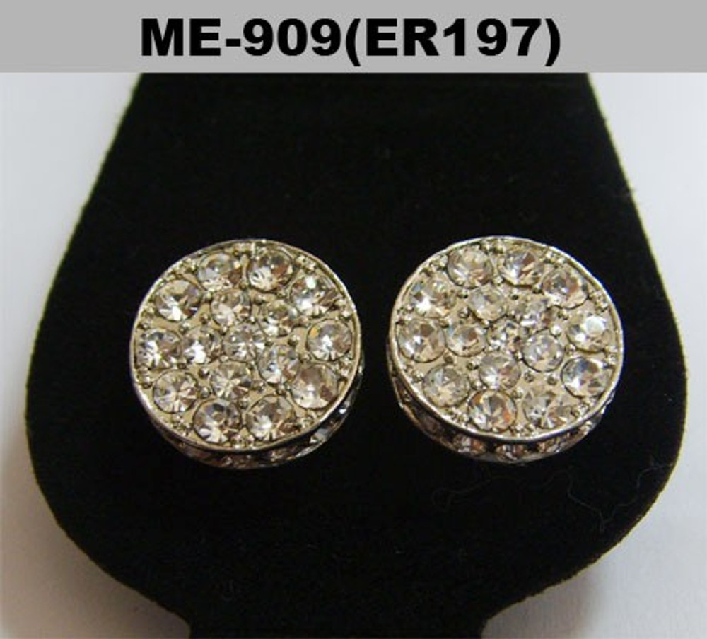 Cz Ice Cap Rhodium Silver Hip Hop Earrings