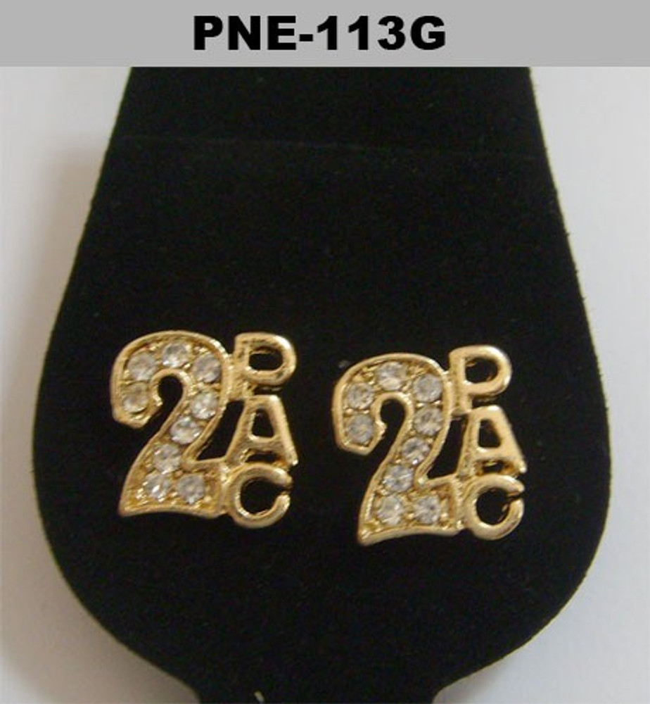 Mens Gold Iced Out Cz 2Pac Hip Hop Bling Earrings