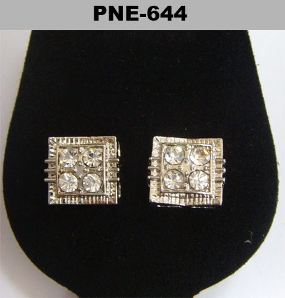 Big Stone Concave Squared Silver Iced Out Earrings