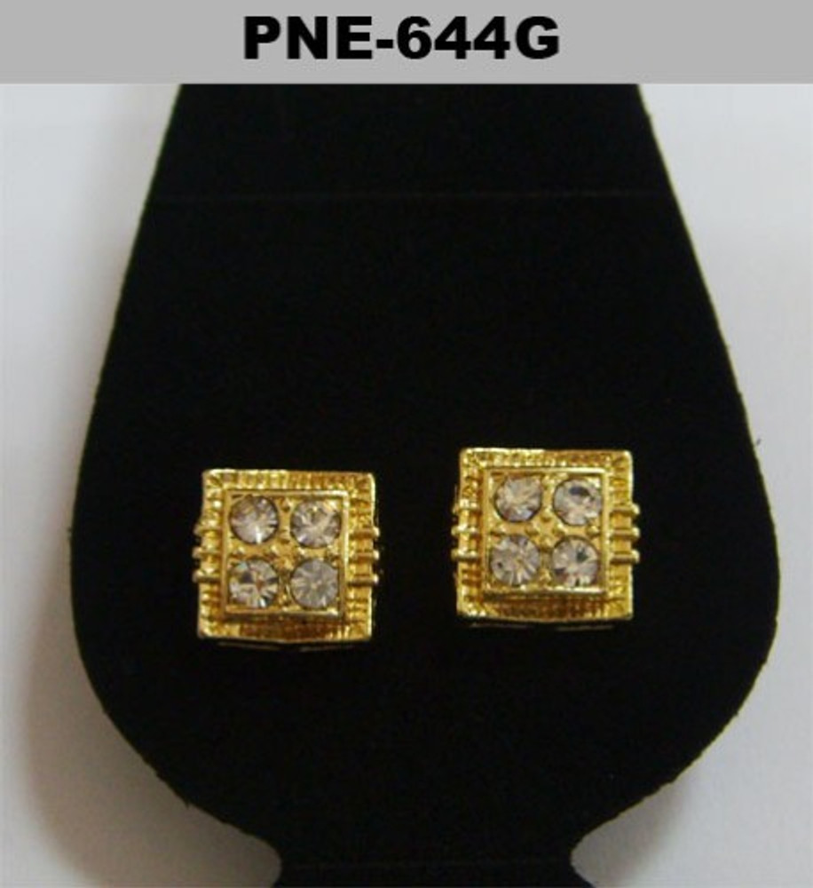 Big Stone Concave Squared Gold Iced Out Earrings