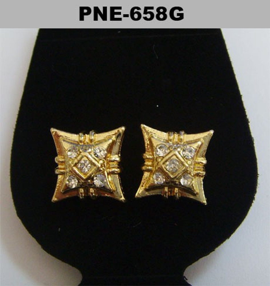 Mens Double Kite Gold Cz Stone Hip Hop Earrings