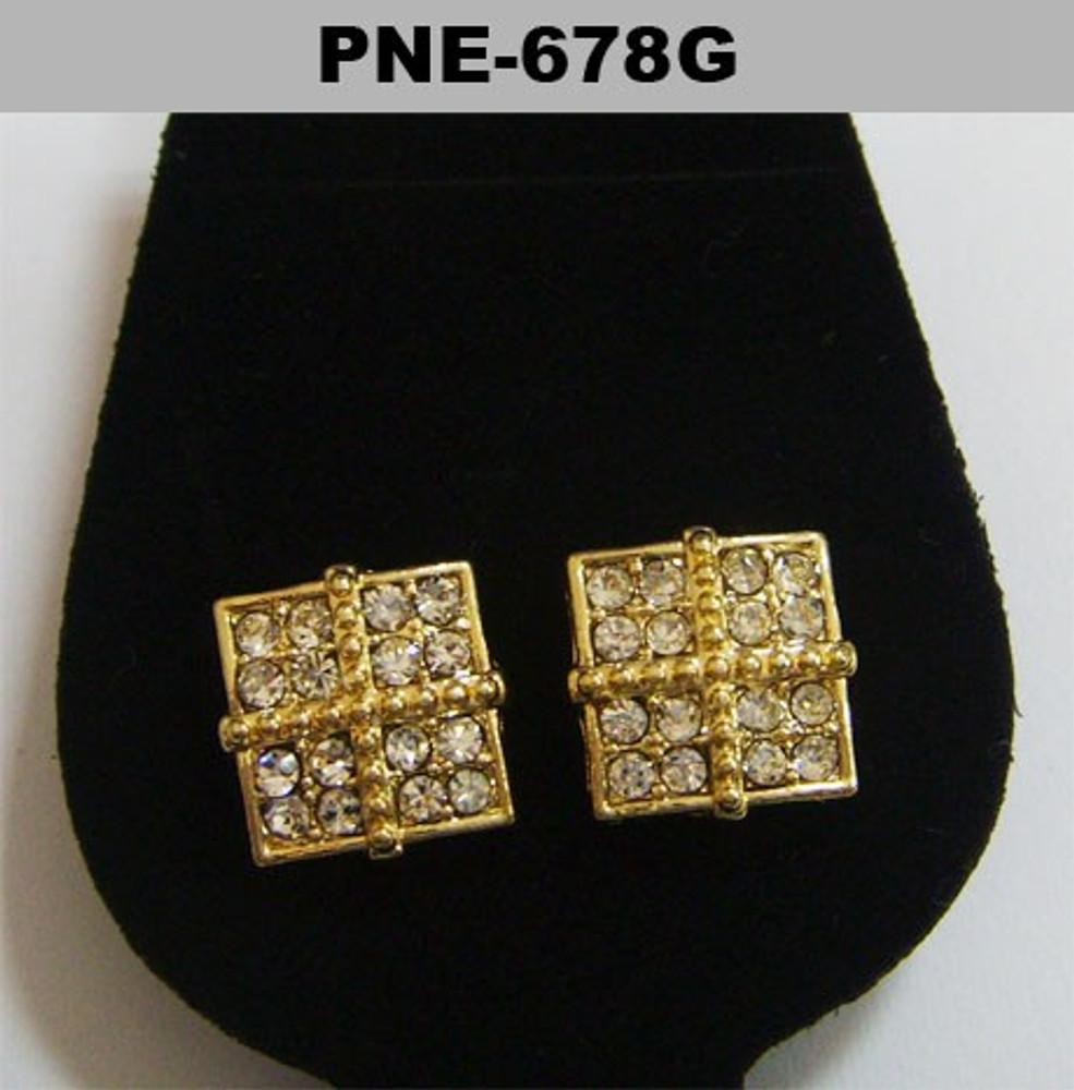 Mens Four Corner 4mm Gold Bling Iced Out Cz Earrings