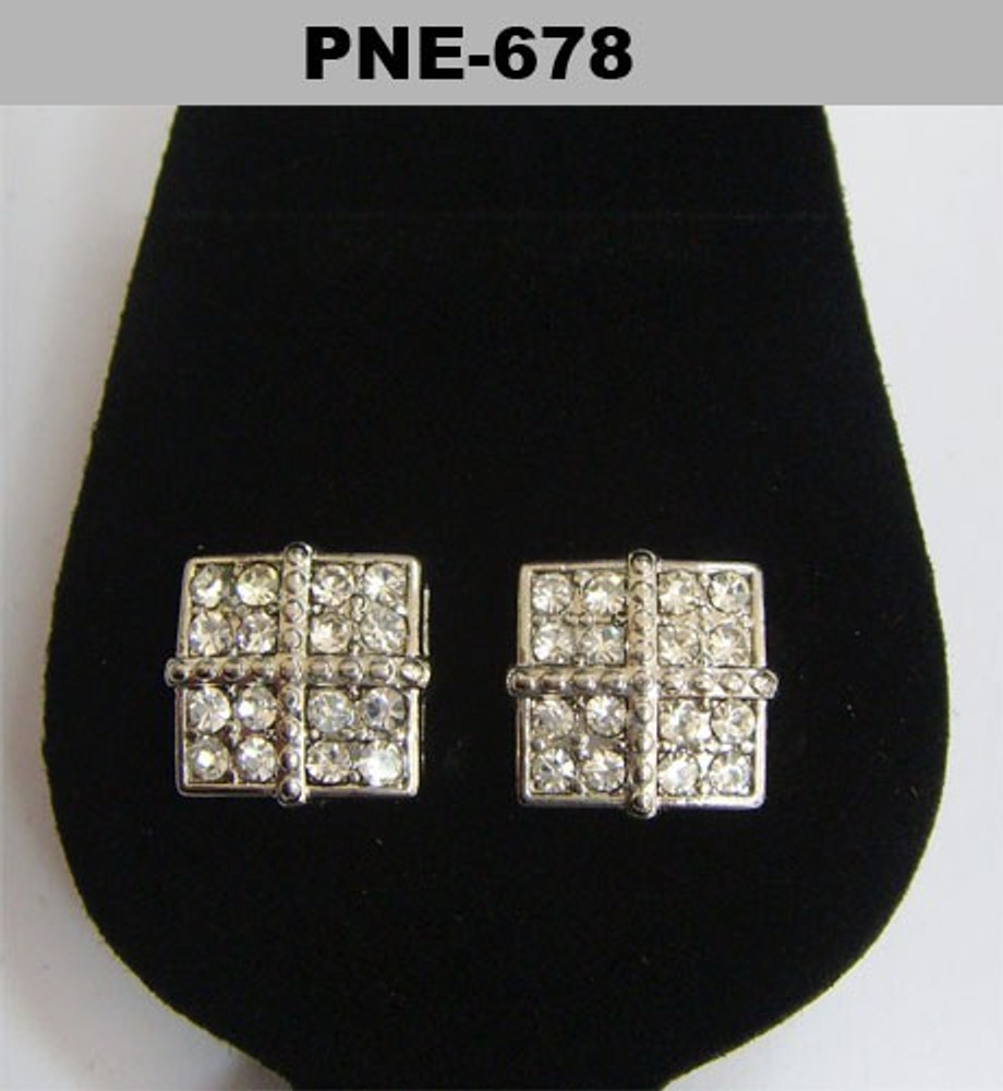 Four Corner 4mm Silver Bling Iced Out Diamond Cz Earrings