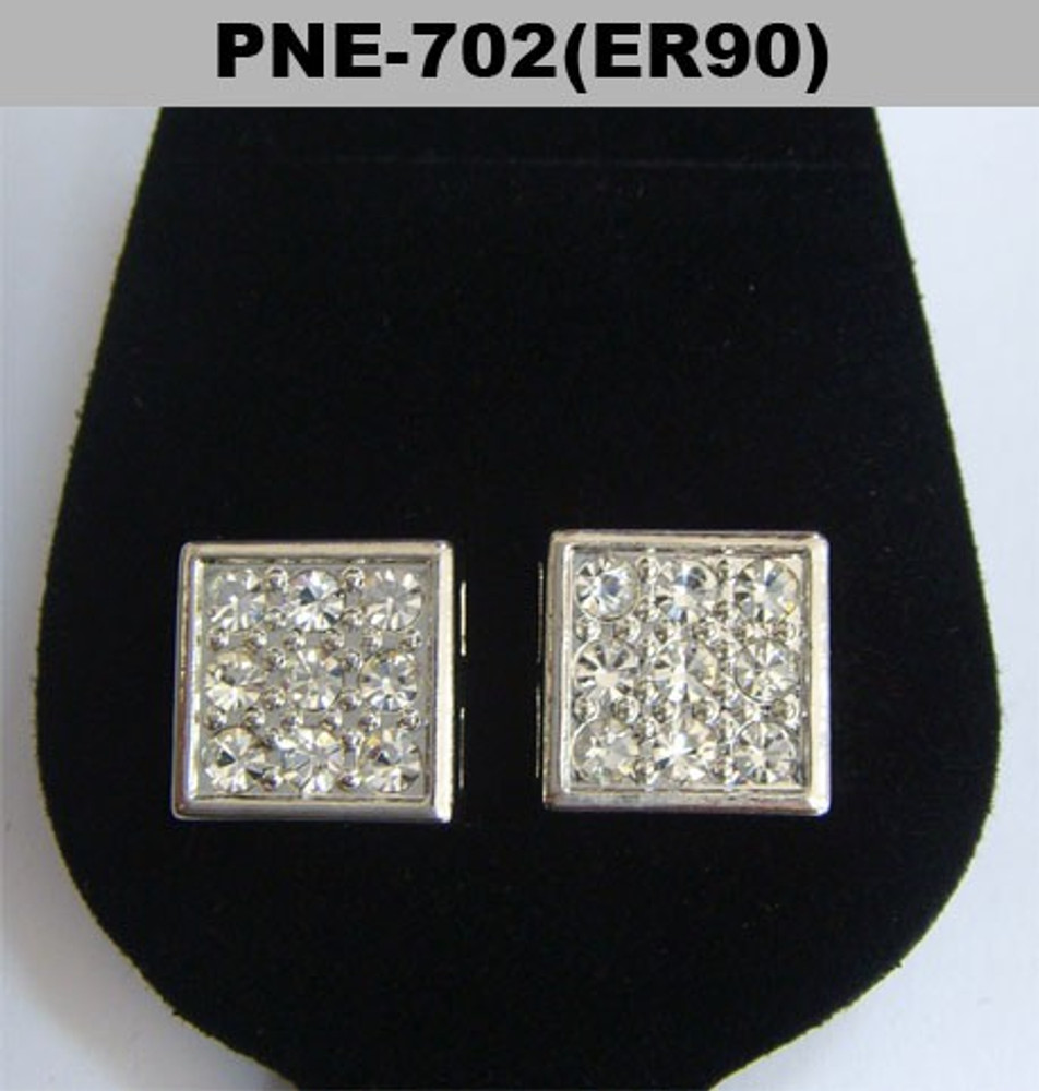 4mm Clean Cut Square Cz Rhodium Silver Iced Out Earrings