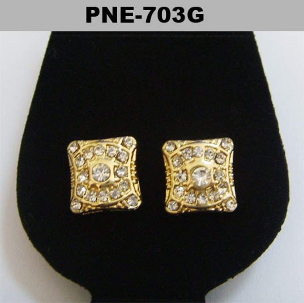 Mens Cz Shield Stone Gold Bling Hip Hop Earrings