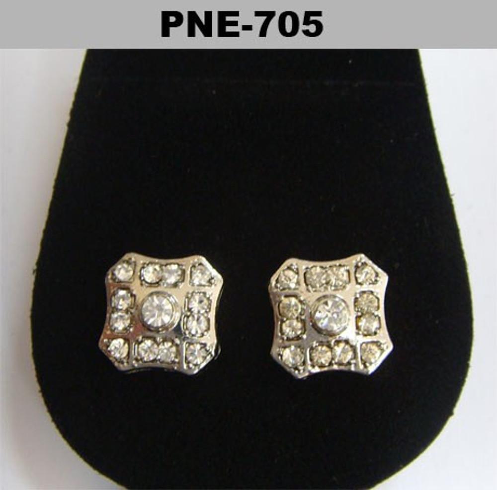 Center Stone Badge Rhodium Silver Hip Hop Bling Earrings