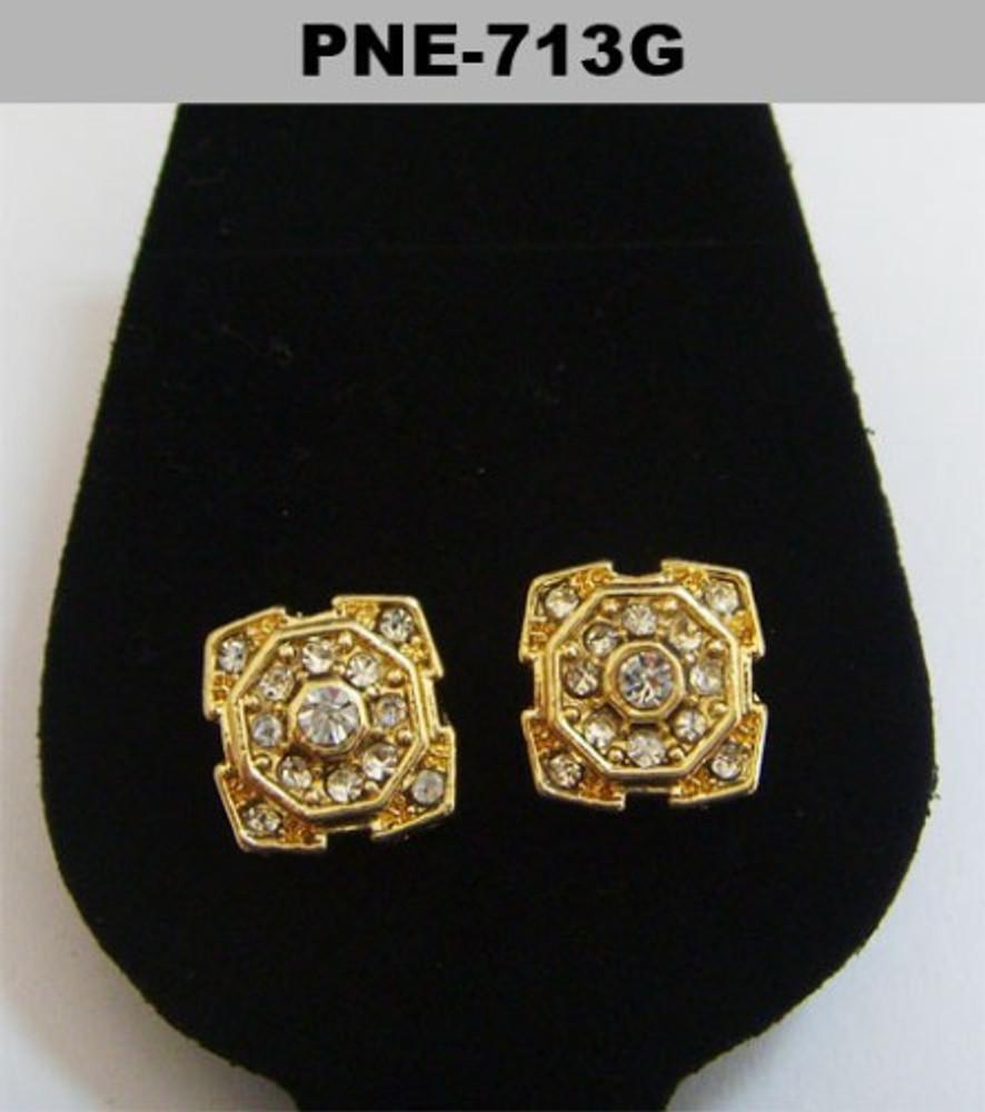 Mens Circle Center Gold Bling Hip Hop Cz Earrings