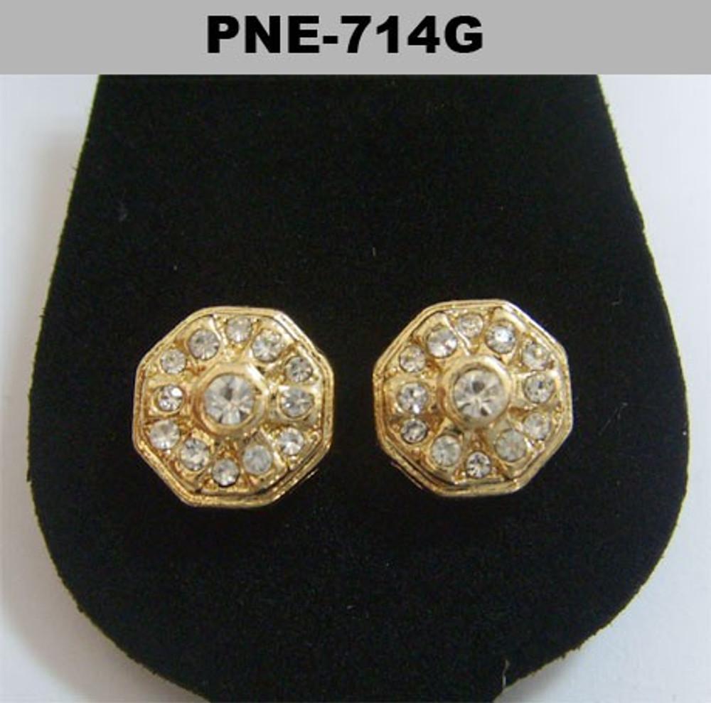 Mens Center Stone Octagon Gold Bling Cz Earrings