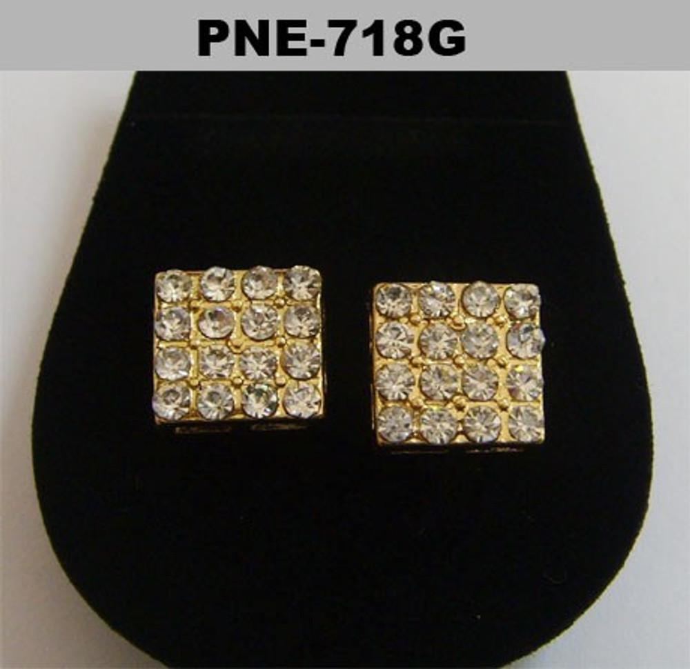 Borderless Square Gold Diamond Cz Hip Hop Bling Earrings