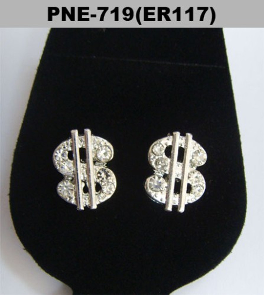 Dollar Sign Silver Hip Hop Bling Earrings