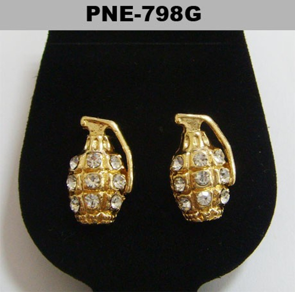 Diamond Cz Iced Out Gold Bling Grenade Earrings