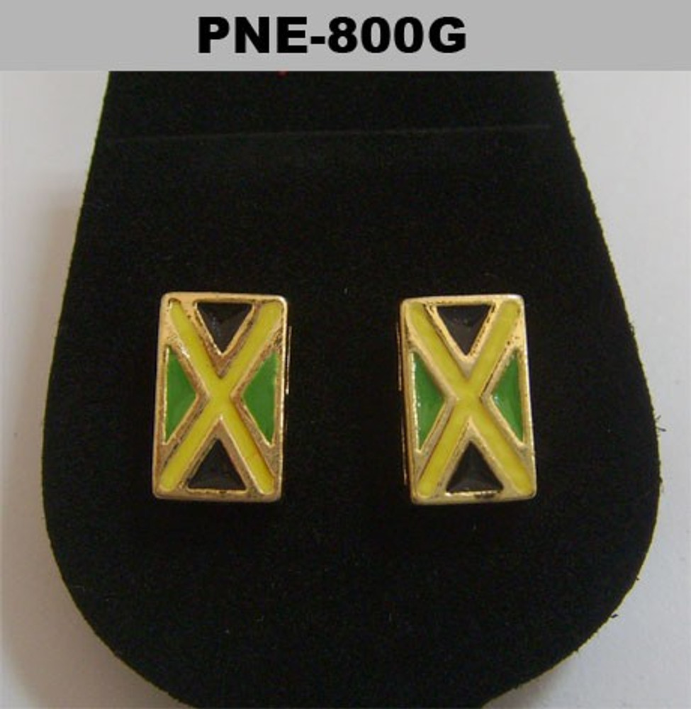 Gold Rectangle Enameled Bling Jamaica Flag Earrings
