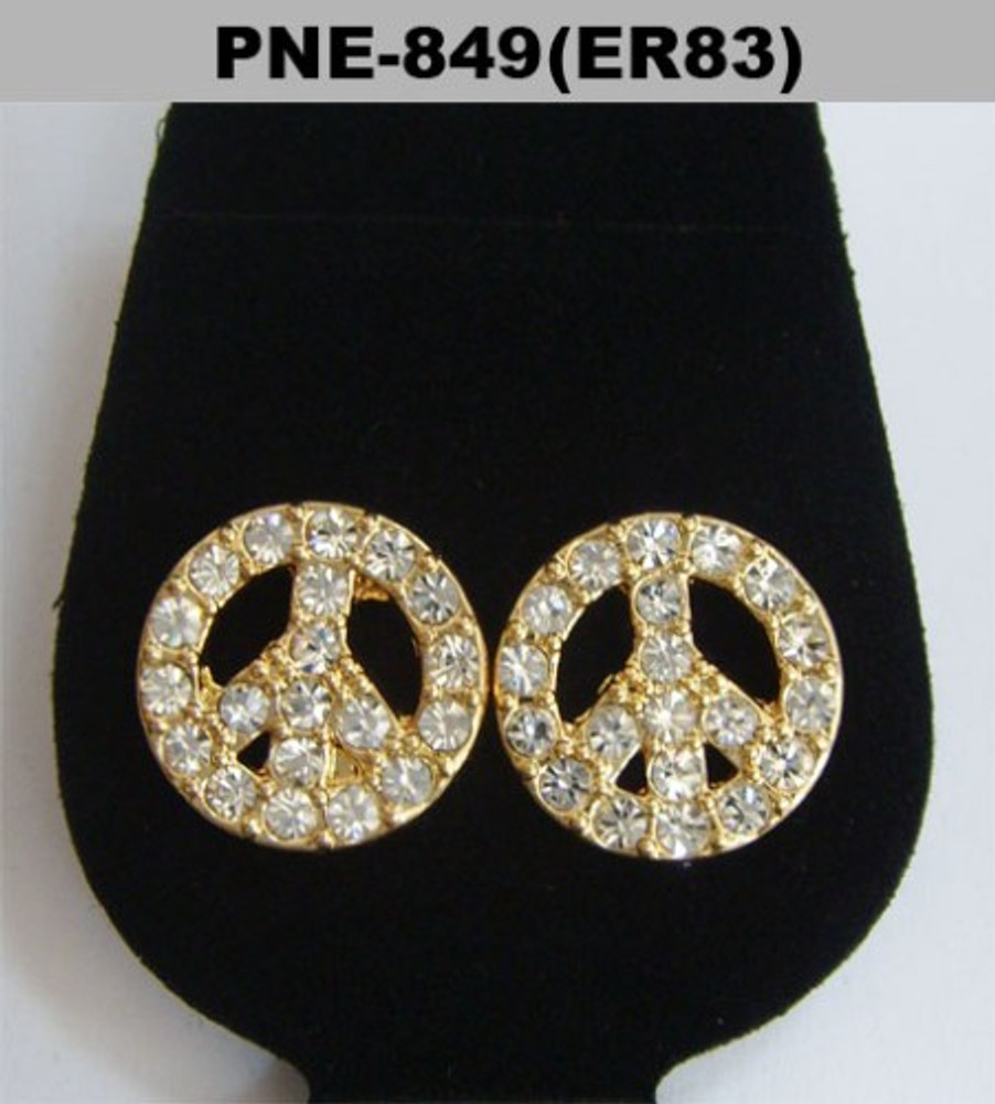 Gold Iced Out Peace Sign Diamond Cz Bling Earrings