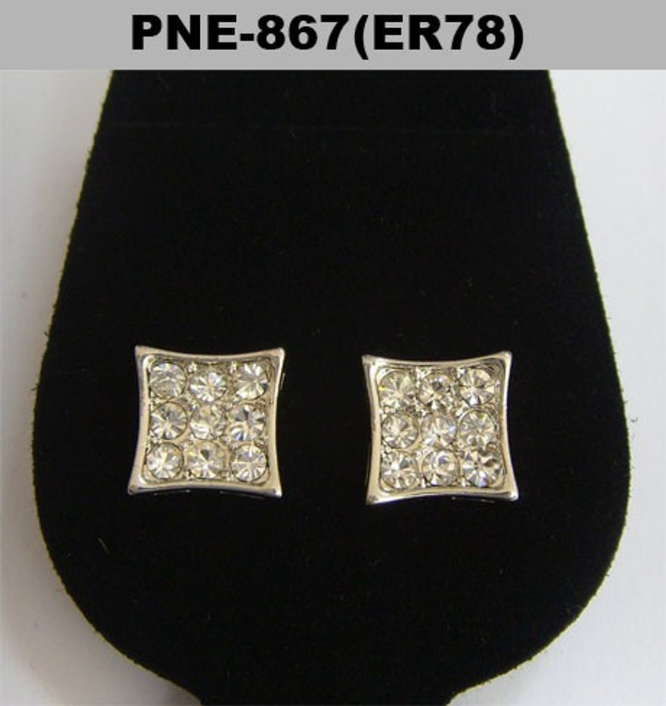 Iced Out Rhodium Silver Diamond Cz Kite Bling Earrings