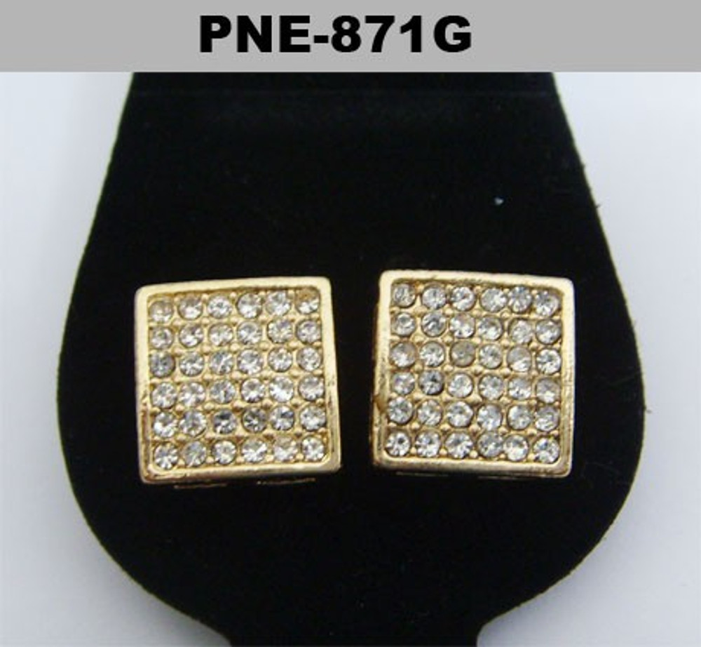 Mens 9mm Square Cut Gold Hip Hop Bling Earrings
