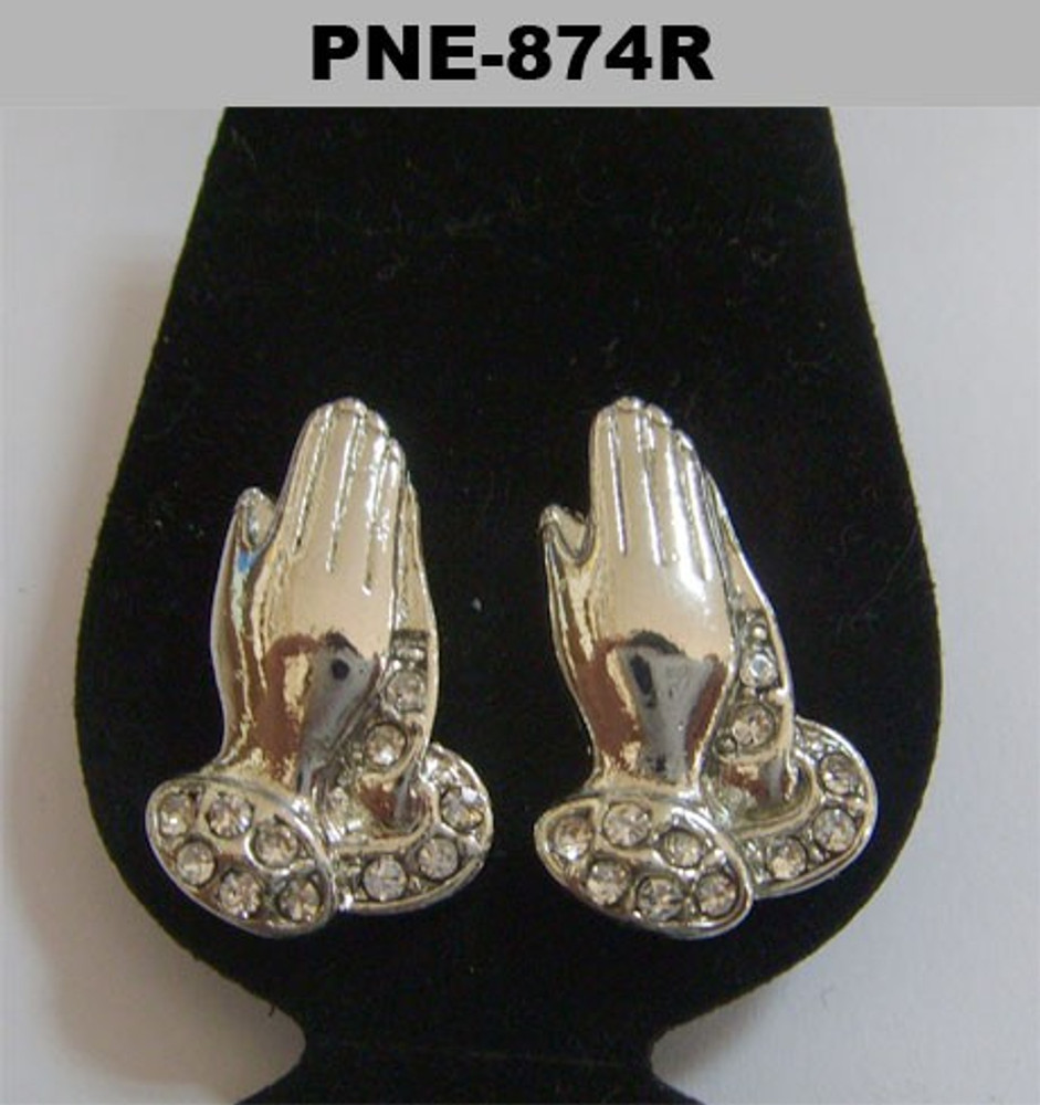 Cz Iced Out Prayer Hand Rhodium Silver Earrings