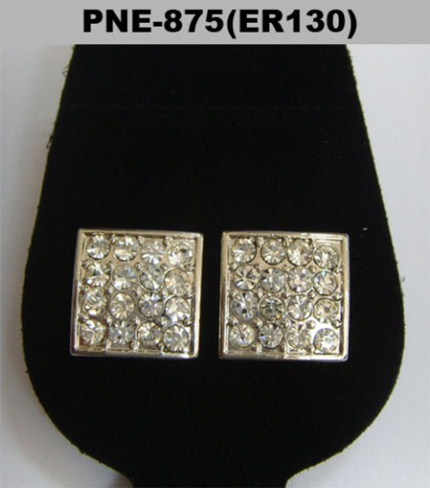 Hip Hop 4mm Square Cut Rhodium Silver Hip Hop Bling Earrings