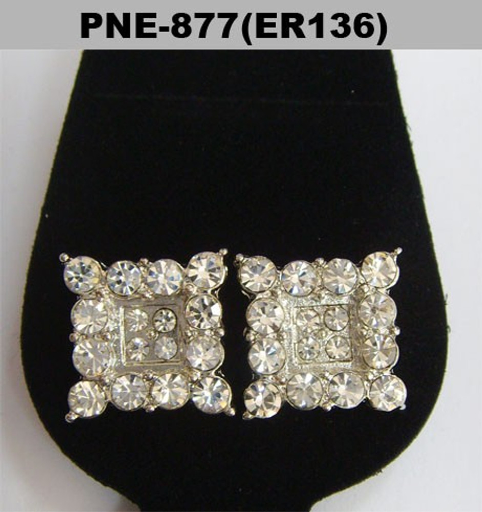 Iced Out Prong Set Square Diamond Cz Bling Earrings