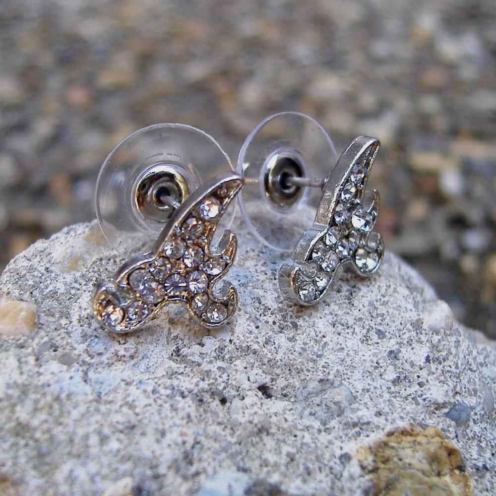 Silver Initial A Earrings