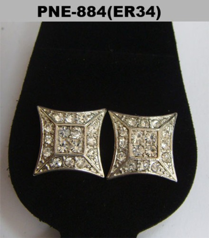 Flat Kite Rhodium Silver Cz Iced Out Earrings