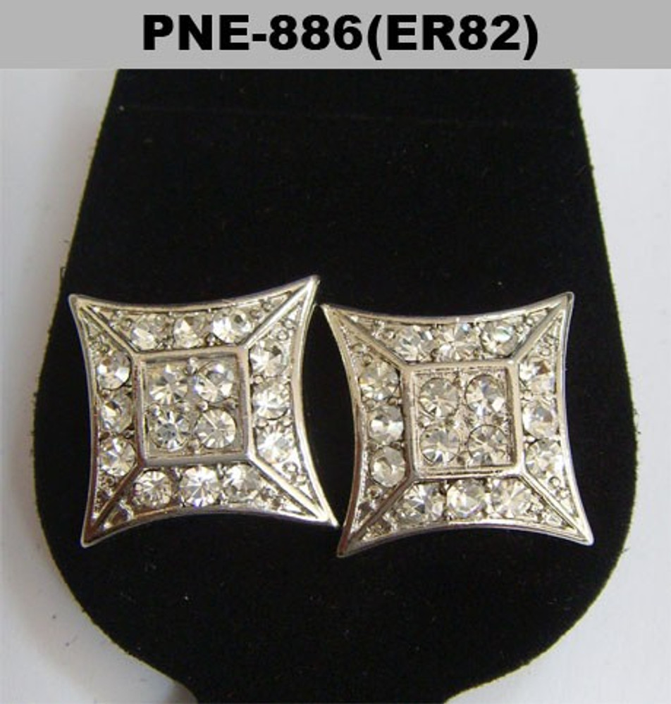 Flat Kite Rhodium Silver Cz Baller Iced Out Earrings