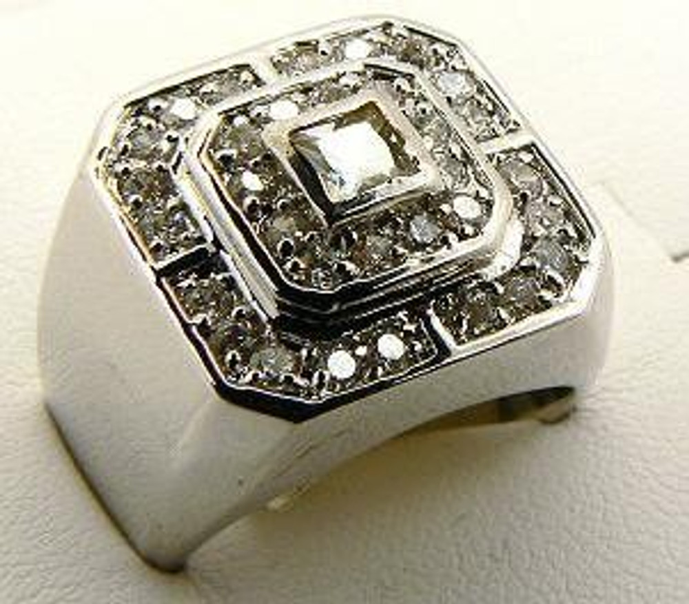 Mens Princess Cut Center Stone Hip Hop Bling Ring Silver
