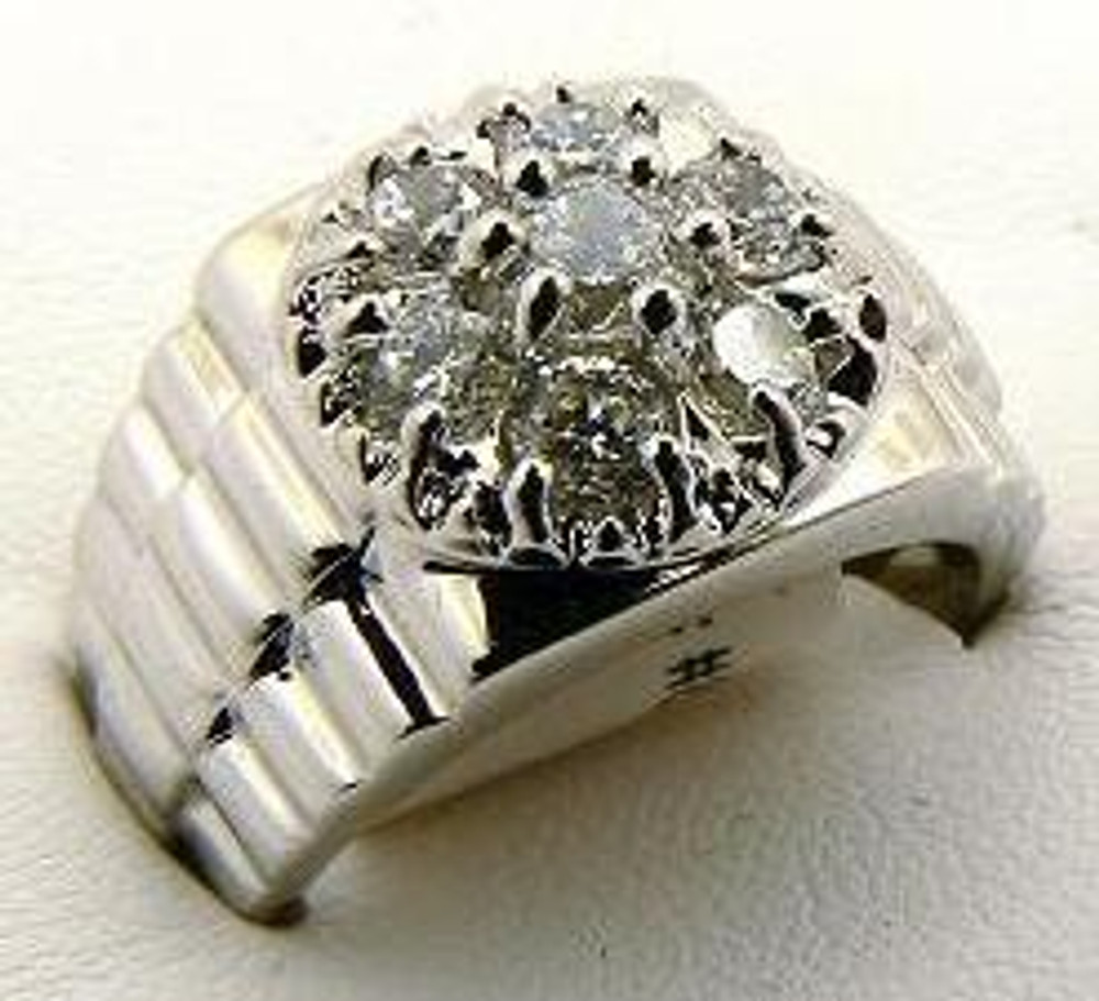 Raised Four Prong Center Stone Rhodium Silver Iced Out Ring
