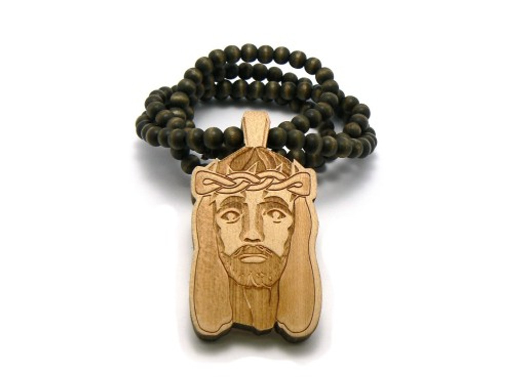Carved Crown of Thorns Wood JESUS Pendant Beaded Chain Natural