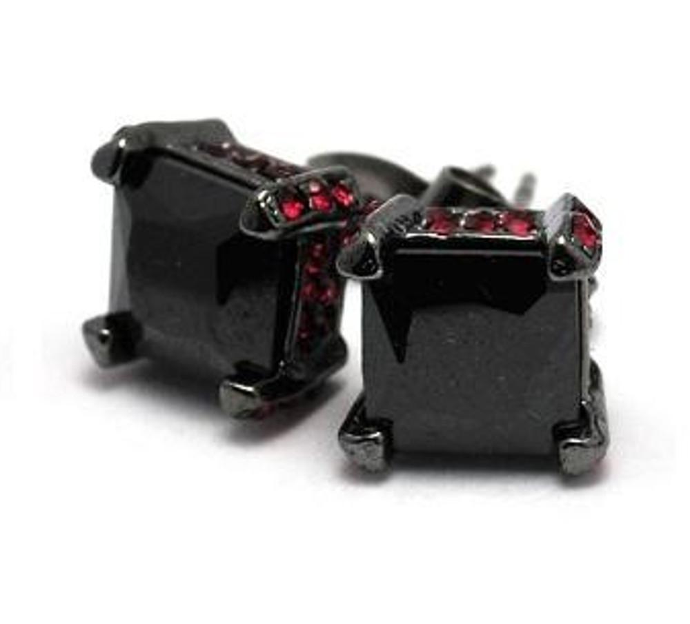 10mm Black on Red Stone Princess Cut Hip Hop Bling Earrings